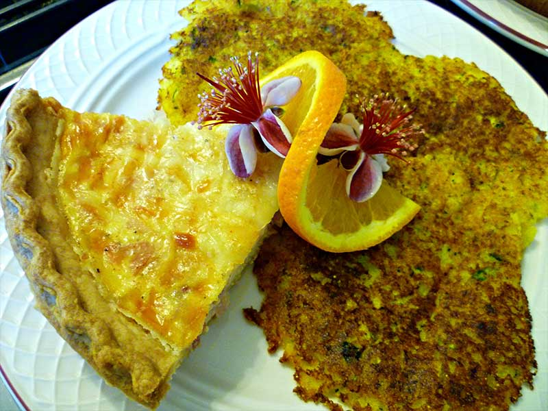 Quiche with Zucchini Hotcakes | Americus Garden Inn Bed & Breakfast, Georgia